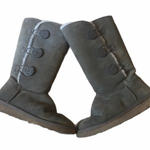 Ugg Bailey Button Mid Calf Boots Sz 6 Gray